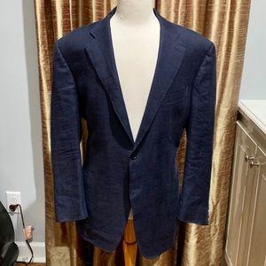 Canali 1934 Blue Micro-Check Linen/Wool Blazer